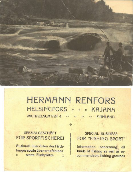 Renforsin kalastuvälineliikkeen mainoskortti